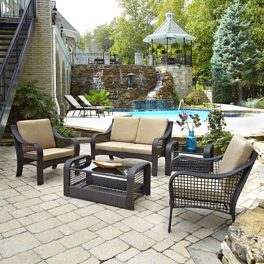 woven metal furniture. Lanai Breeze Deep Brown Woven 2-Piece Love Seat Patio Accent Chairs, Metal Furniture