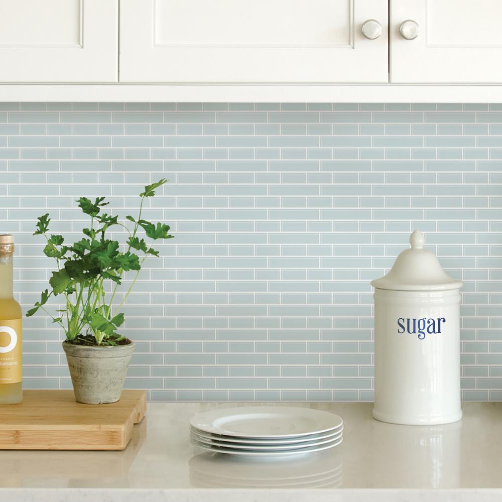 Wall Pops Blue Sea Glass Peel Stick Backsplash Tiles NH2361 ...