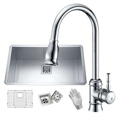 Vanguard Undermount Stainless Steel 32 in. Single Bowl Kitchen Sink in Satin with Faucet in Polished Chrome