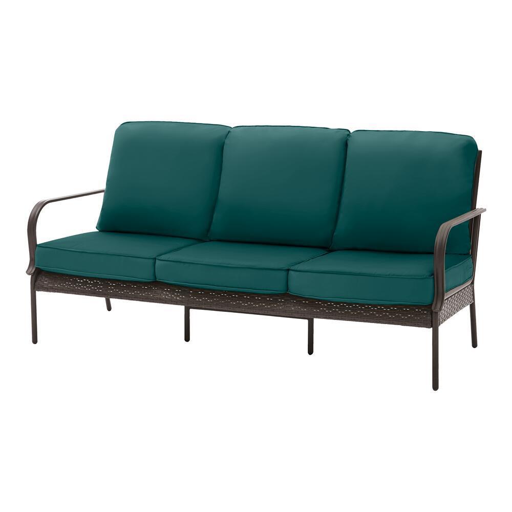 Becker Dark Mocha Steel Outdoor Patio Sofa with CushionGuard Malachite Green Cushions