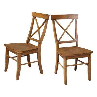 Distressed Pecan X Back Dining Chairs (set Of 2)