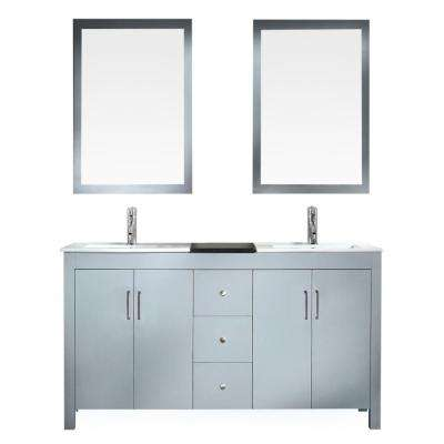 Hanson 60 in. Bath Vanity in Grey with Granite Vanity Top in Black with White Basins and Mirrors
