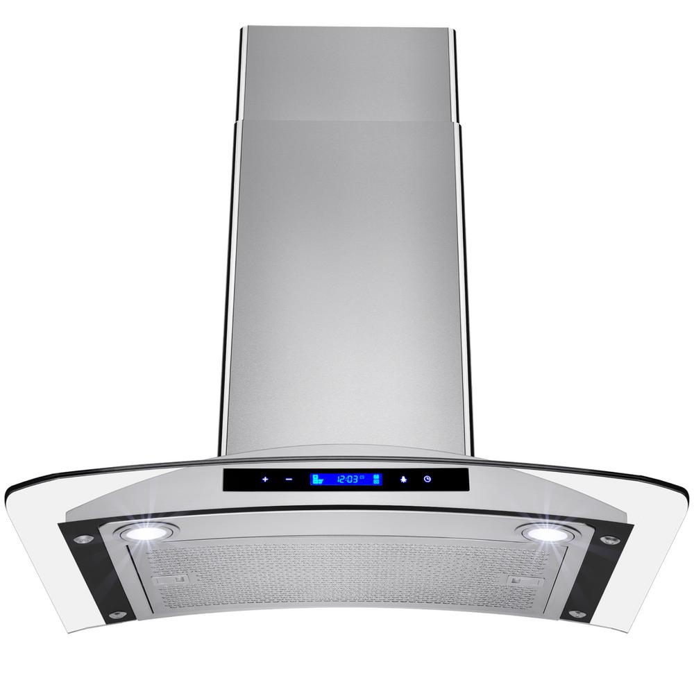 Convertible Kitchen Wall Mount Range Hood In Stainless Steel With Tempered Gl