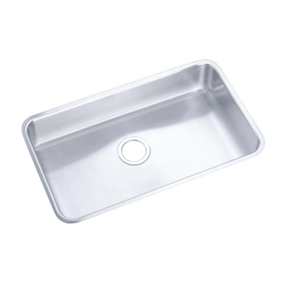 Lustertone Undermount Stainless Steel 31 in. Single Bowl ADA Compliant Kitchen Sink