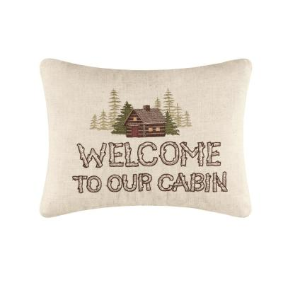 Tan Our Cabin Embroidered 14 in. x 18 in. Standard Throw Pillow