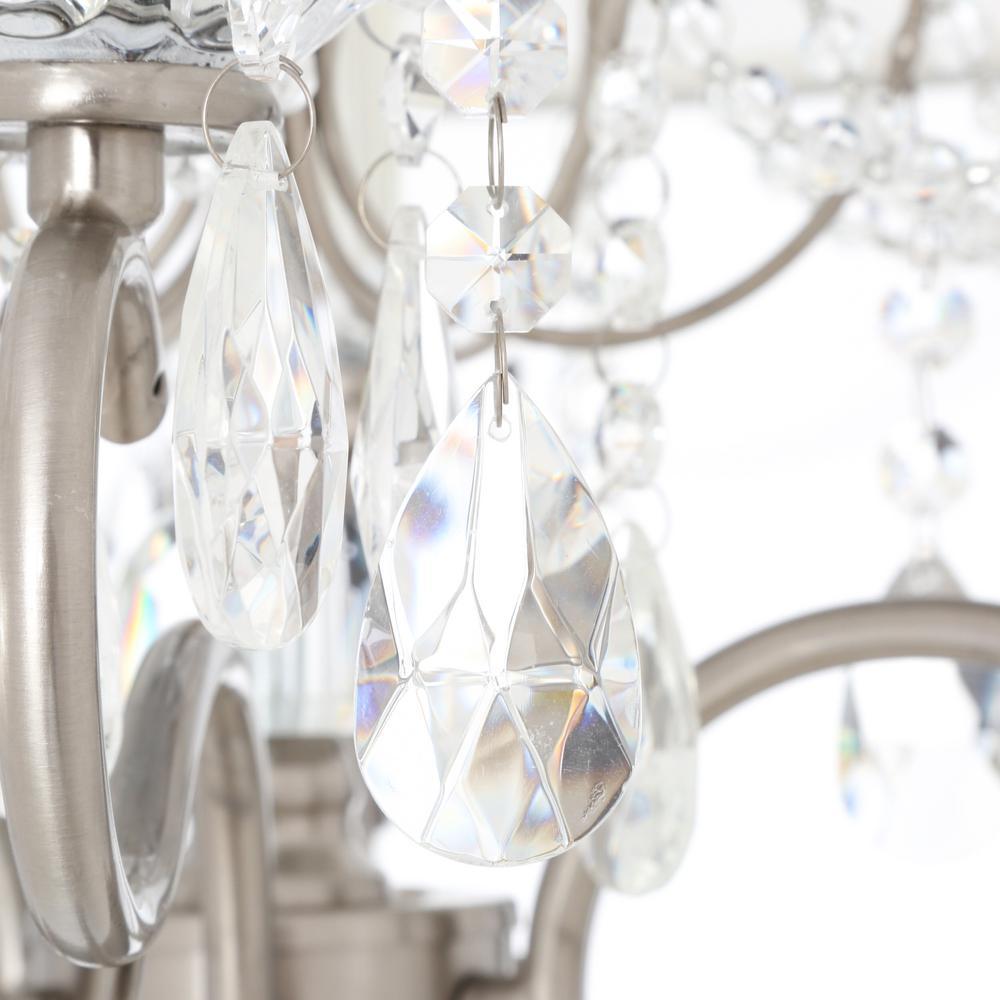 6-Light Crystal Silver Chandelier