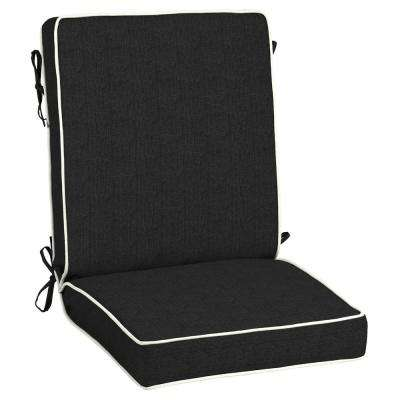 21 x 20 Sunbrella Canvas Black Outdoor Dining Chair Cushion