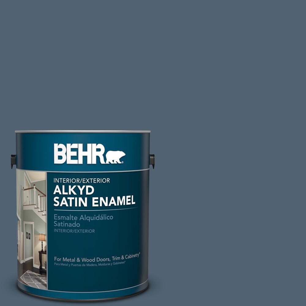 1 gal. #T17-17 Midnight Show Satin Enamel Alkyd Interior/Exterior Paint