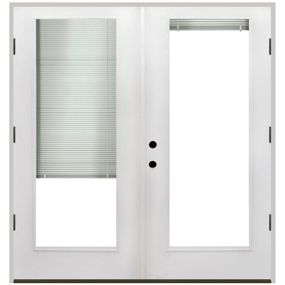 Steves & Sons 68 in. x 80 in. Primed White Fiberglass Prehung Left-Hand Outswing Mini Blind Patio Door