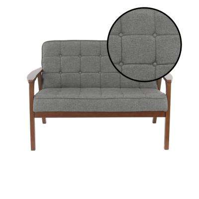 Gray Fabric and Rubber Wood Cushioned Loveseat