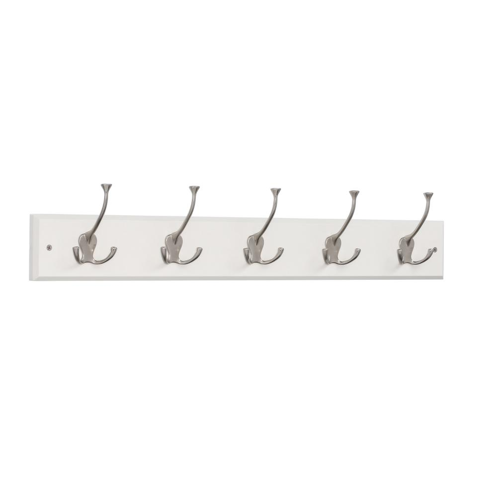 White And Satin Nickel Tri Hook Rack