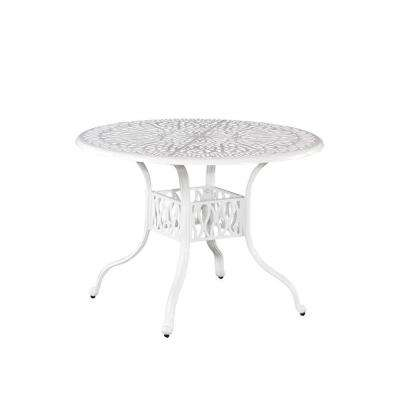 Floral Blossom 48 in. White All-Weather Patio Dining Table