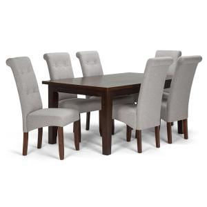 2dc94012cf Cosmopolitan 7-Piece Dining Set with 6 Upholstered Dining Chairs in Cloud  Grey Linen Look