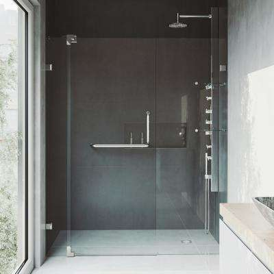 Pirouette 60 to 66 in. x 72 in. Frameless Pivot Shower Door in Brushed Nickel with Clear Glass and Handle