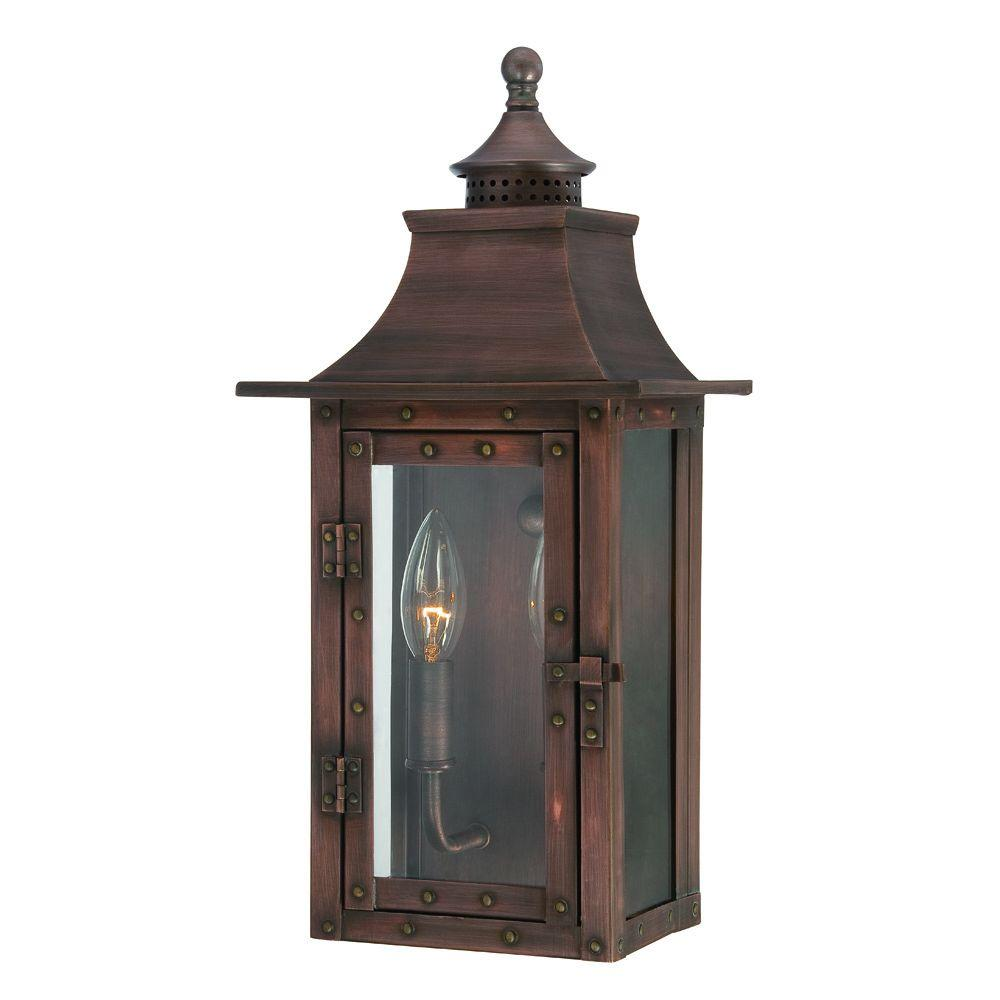 Acclaim Lighting St. Charles Collection 2-Light Copper Patina Outdoor Wall-Mount Light Fixture