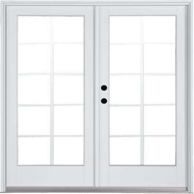 72 in. x 80 in. Fiberglass Smooth White Right-Hand Inswing Hinged Patio Door with 10-Lite GBG