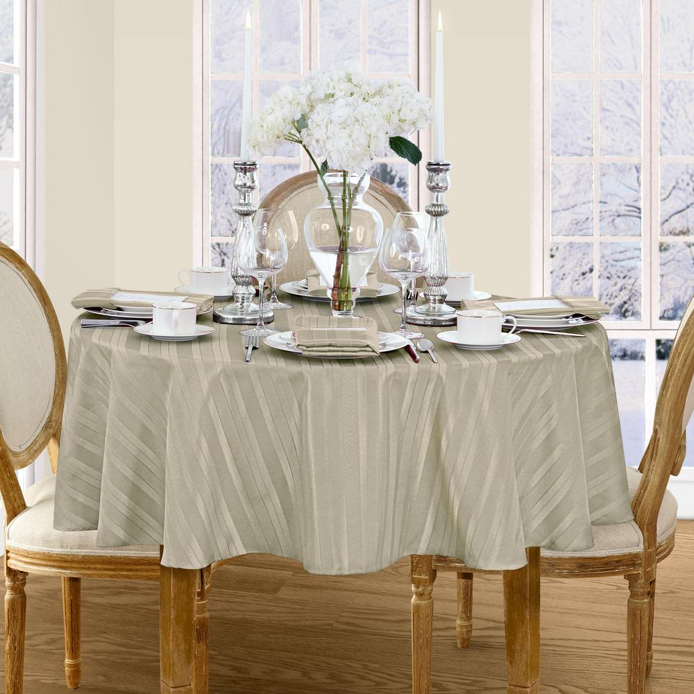 70 in. Round Gray Elrene Denley Stripe Damask Fabric Tablecloth