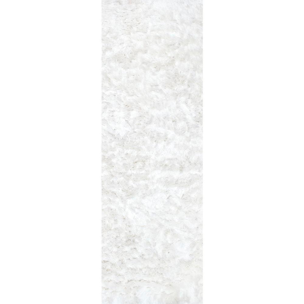 Latonia Silken Shag Pearl White 2 ft. 6 in. x 8 ft. Runner Rug