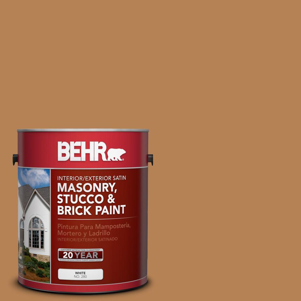 1 gal. #S250-5 Roasted Cashew Satin Interior/Exterior Masonry, Stucco and Brick Paint