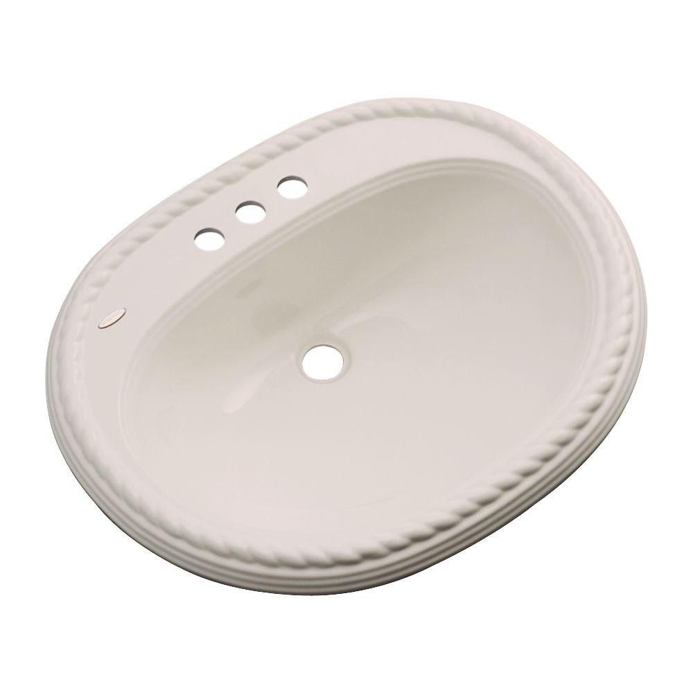 null Malibu Drop-In Bathroom Sink with Faucet Hole in Shell