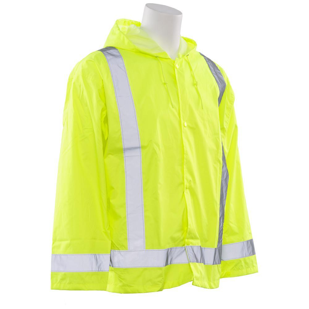 S373 Class 3 Rain Jacket, Lime Medium and Large