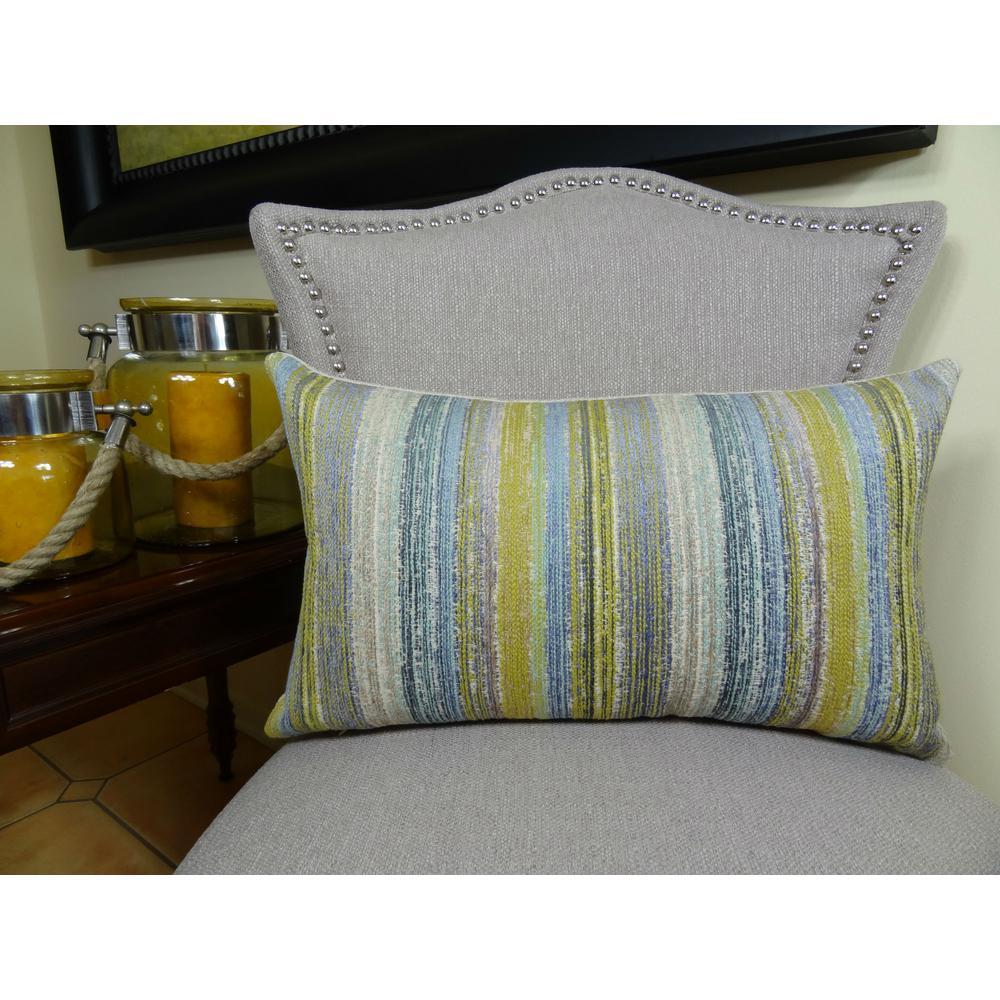 Spoft Strie Cornflower 12 in. x 20 in. Blue, Mustard and Lavender Hypoallergenic Down Alternative Throw Pillow