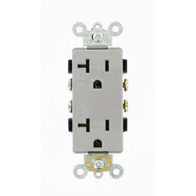 Decora Plus 20 Amp Commercial Grade Self Grounding Duplex Outlet, Gray