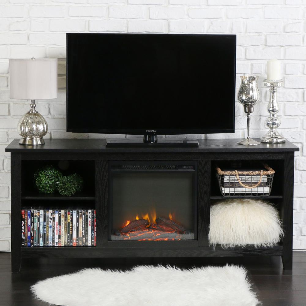 Walker Edison Furniture Company Essential Black Fire Place Entertainment  Center