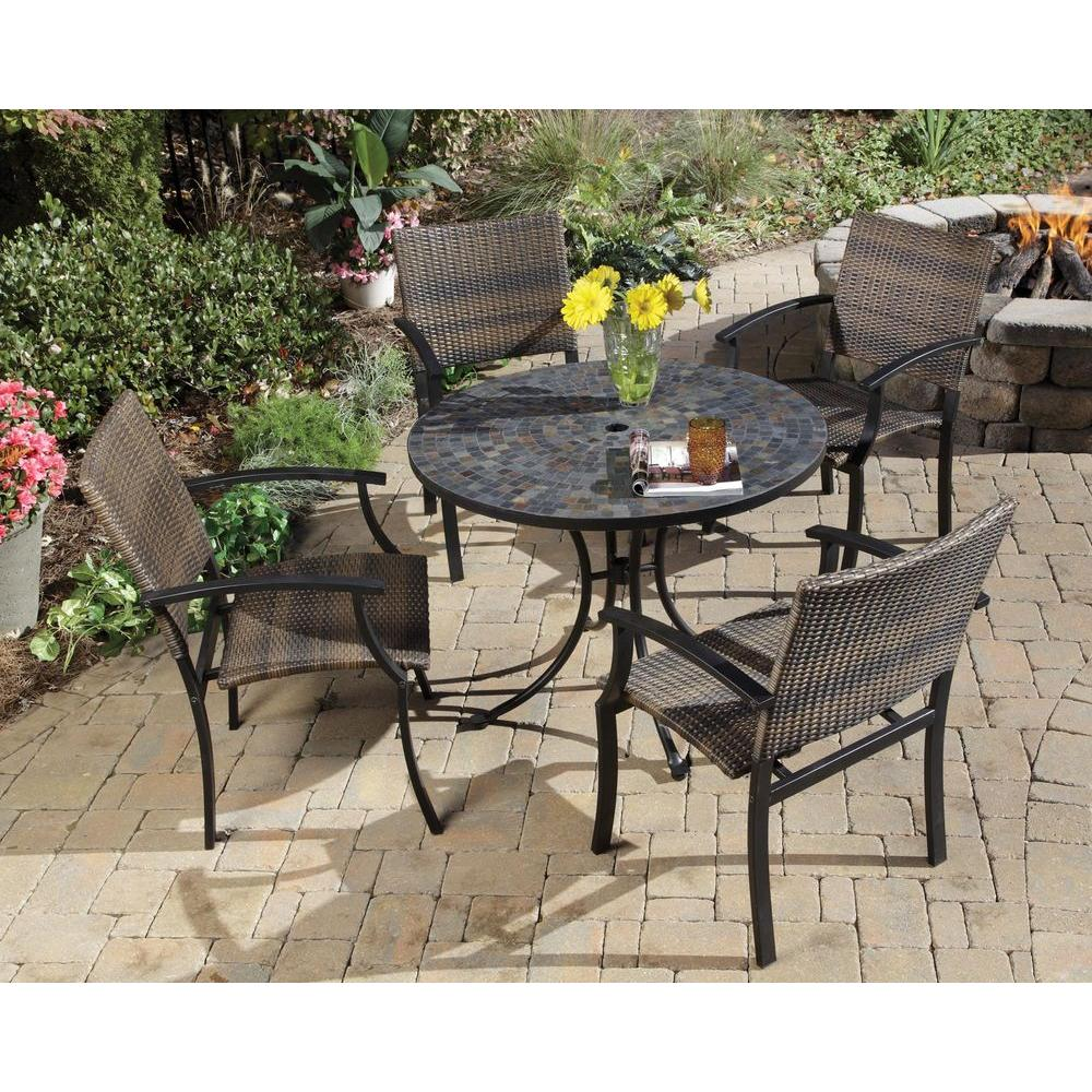 Home Styles Stone Harbor 40 In 5 Piece Slate Tile Top Round Patio Dining