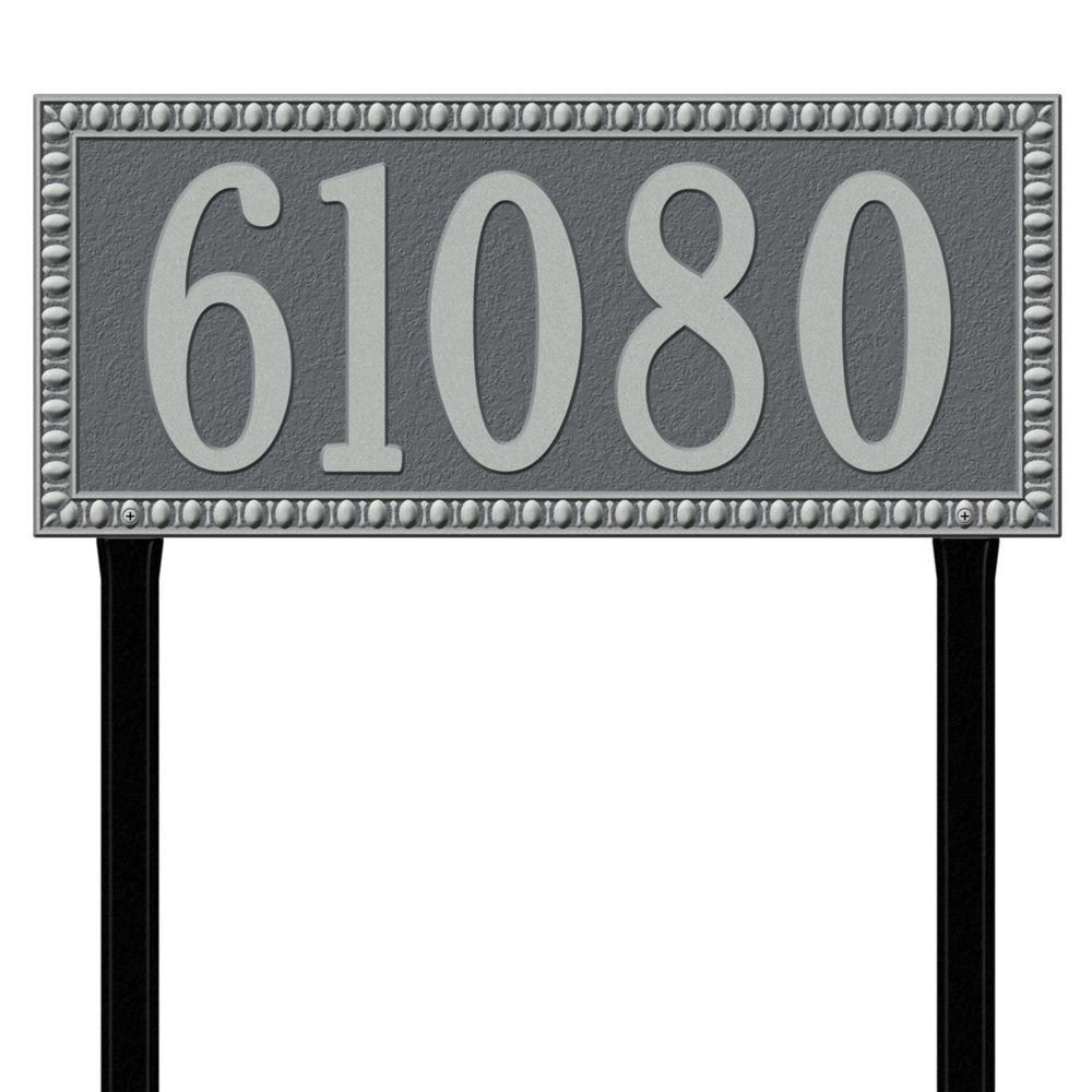 Egg and Dart Rectangular Pewter/Silver Estate Lawn One Line Address Plaque