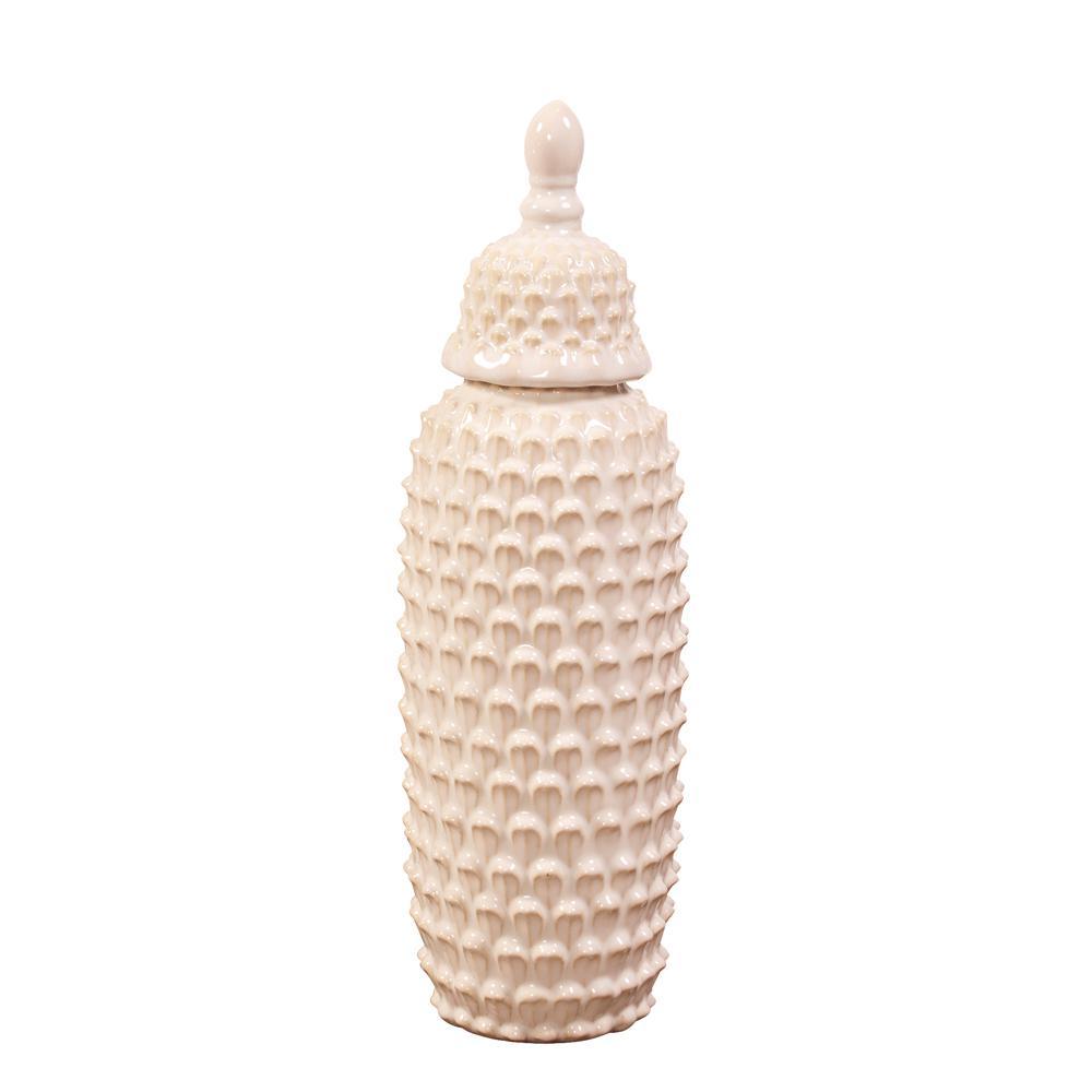 Short Textured Cream Ceramic Decorative Urn