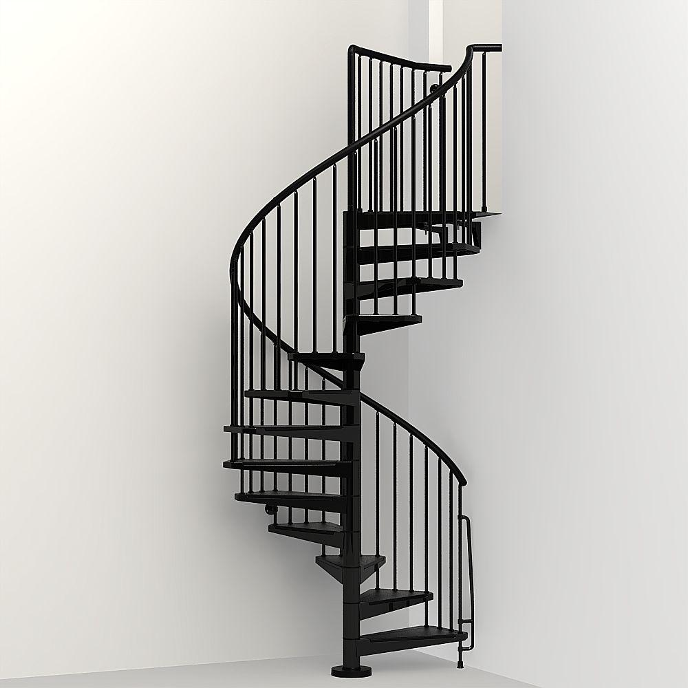 Top 70 Best Staircase Ideas: Arke Civik 63 In. Black Spiral Staircase Kit-K03020