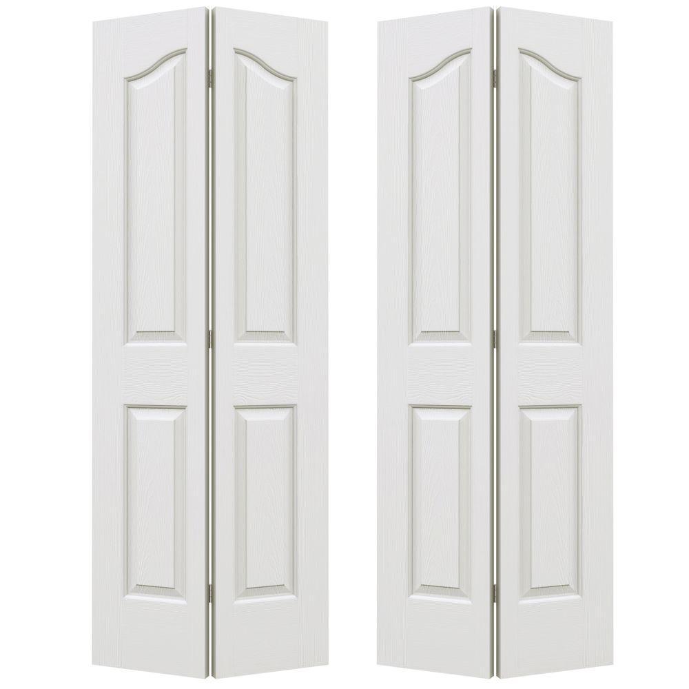 72 in. x 80 in. Provincial Primed Textured Molded Composite MDF Closet Bi-fold Door
