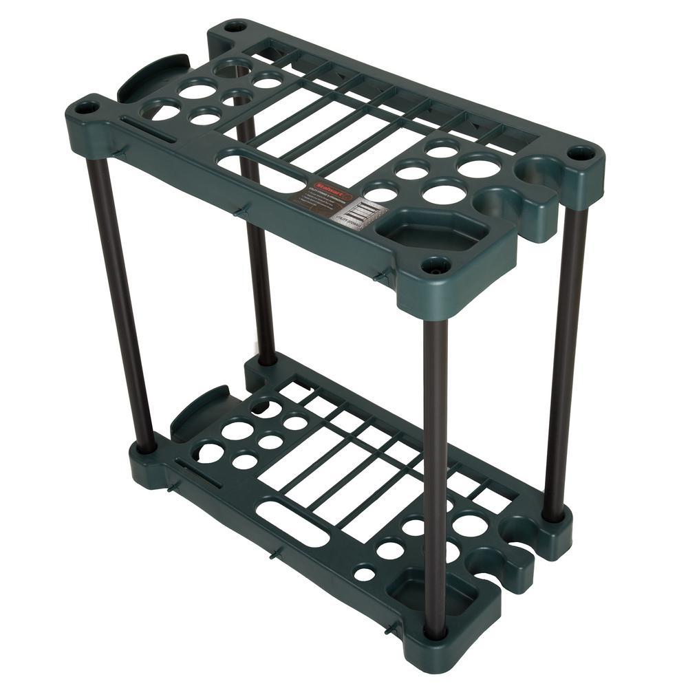 24 in. x 12.5 in. x 23 in. 2-Tier 30 Tool Compact Garden Tool Storage Rack