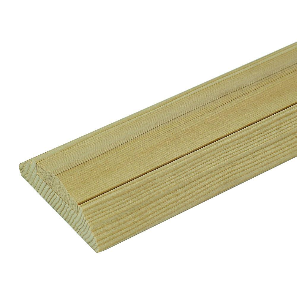 Stair Parts 6045 1 ft. Unfinished Poplar Shoe Rail with Fillet
