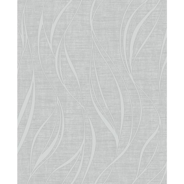 Fine Decor Orson Silver Wave Wallpaper Sample