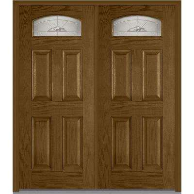 72 in. x 80 in. Master Nouveau Right-Hand Inswing Cambertop Decorative 4-Panel Stained Fiberglass Oak Prehung Front Door