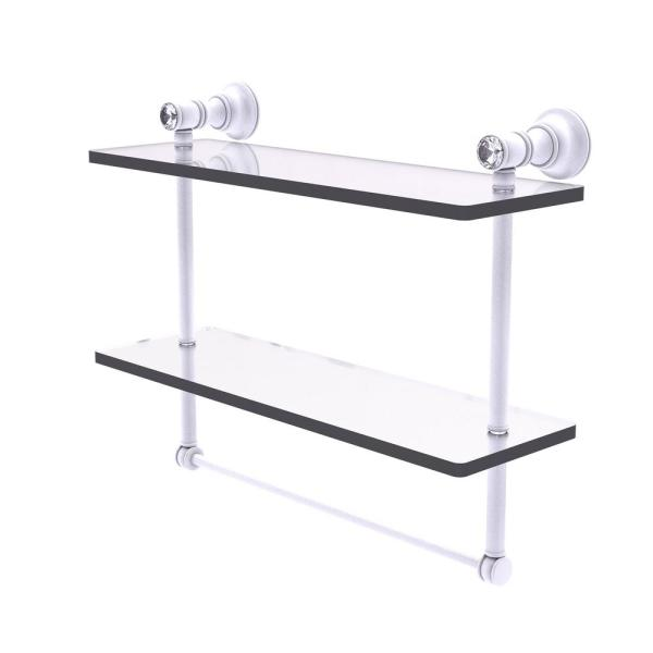 Allied Brass Carolina Crystal 16 In Double Glass Shelf With Towel Bar In Matte White Cc 2 Tb 16 Whm The Home Depot