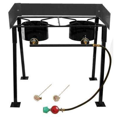 54,000 BTU Heavy Duty Portable Propane Gas Double Burner Outdoor Cooker
