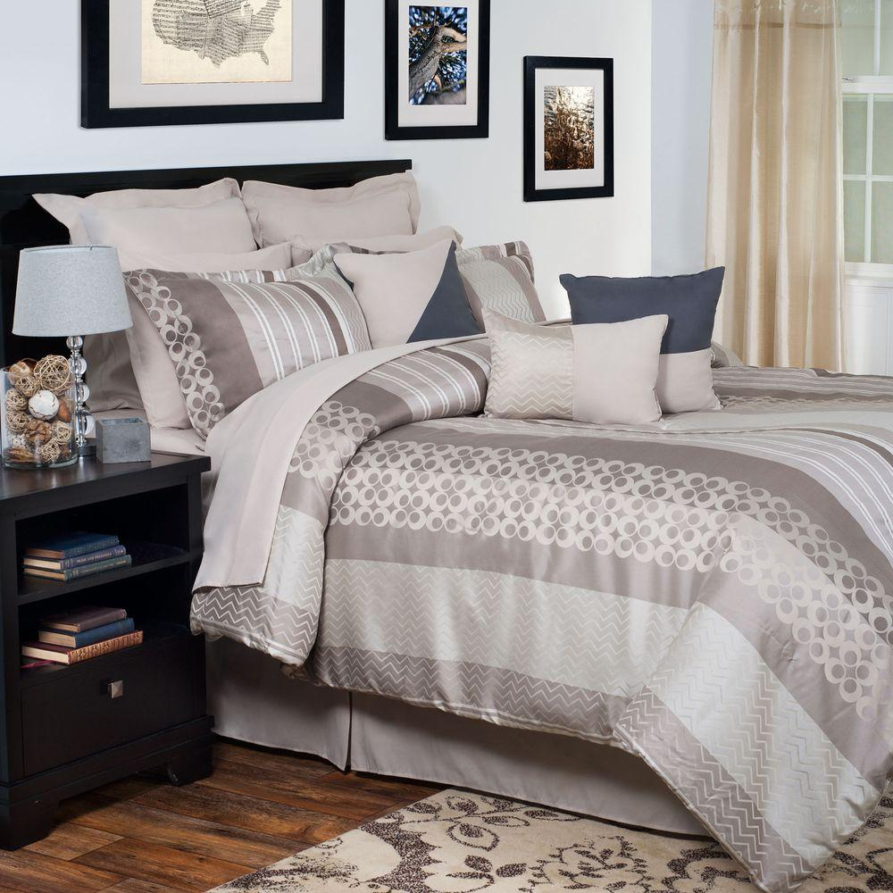 null Gabriella Gray Embroidered 14-Piece King Comforter Set