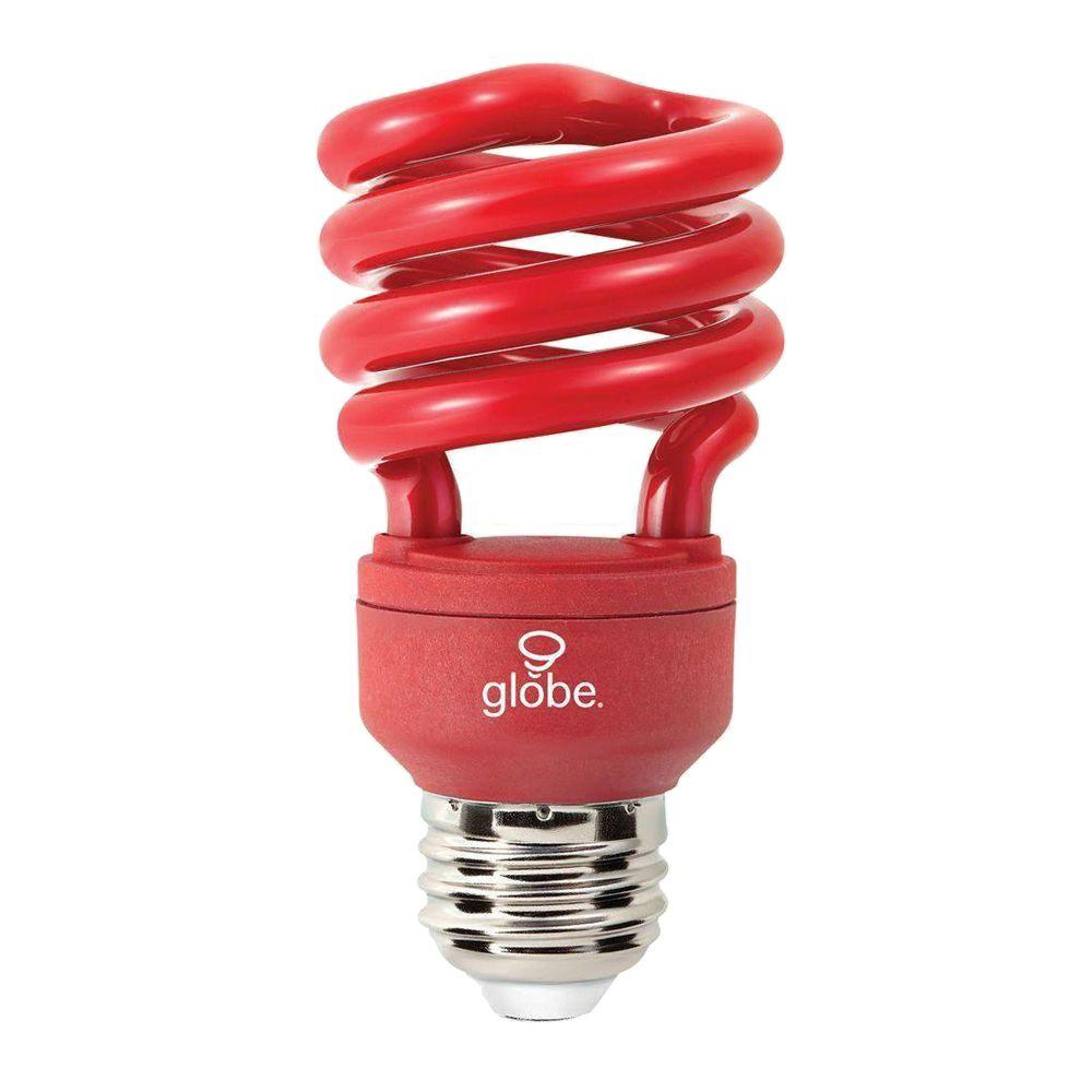 Globe Electric 60W Equivalent Soft White (2700K) T4 Spiral Red CFL Light Bulb (3-Pack)