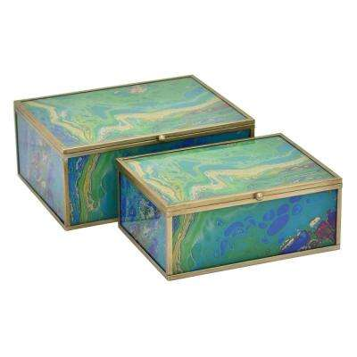 3.75 in. Metal/Glass Box in Green (Set of 2)