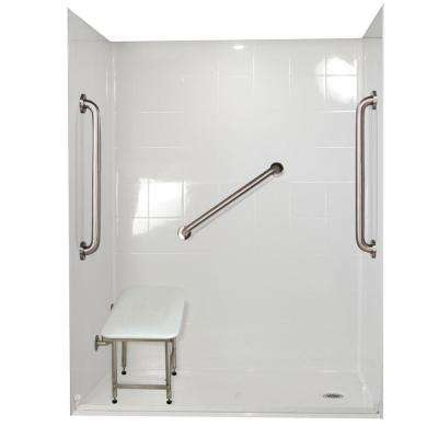 Standard Plus 24 33 in. x 60 in. x 77-3/4 in. Barrier Free Roll-In Shower Kit in White with Right Drain