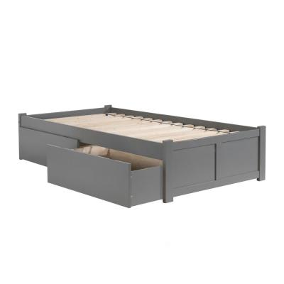 Concord Queen Platform Bed with Flat Panel Foot Board and 2 Urban Bed Drawers in Grey