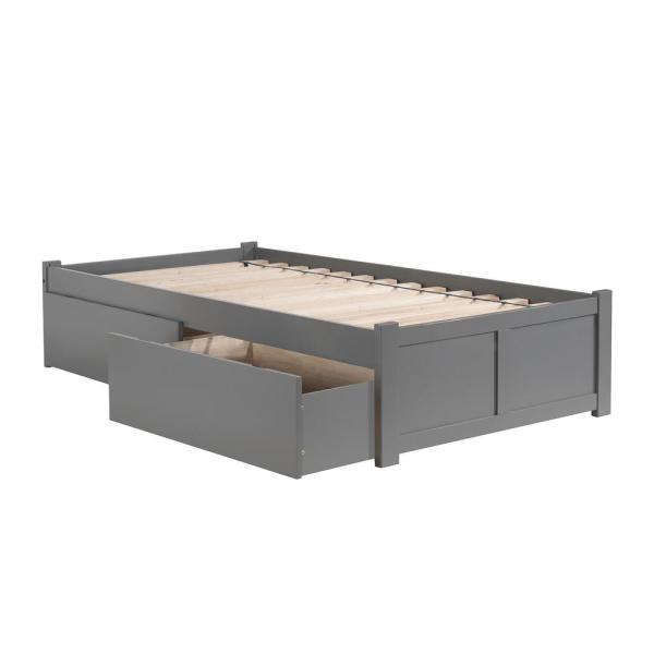 Atlantic Furniture Concord Queen Platform Bed With Flat Panel Foot Board And 2 Urban Drawers
