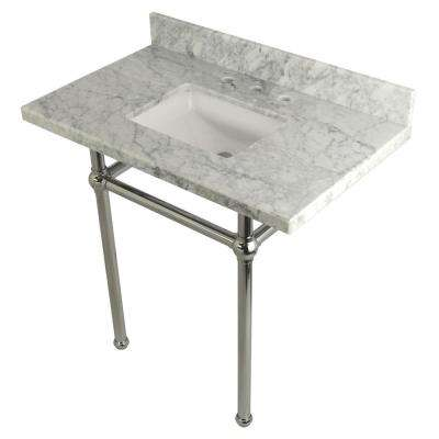 Square Sink Washstand 36 in. Console Table in Carrara with Metal Legs in Polished Chrome