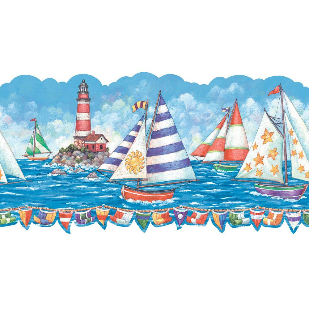 The Wallpaper Company 8 in. x 10 in. Brightly Colored Sailboat Border Sample