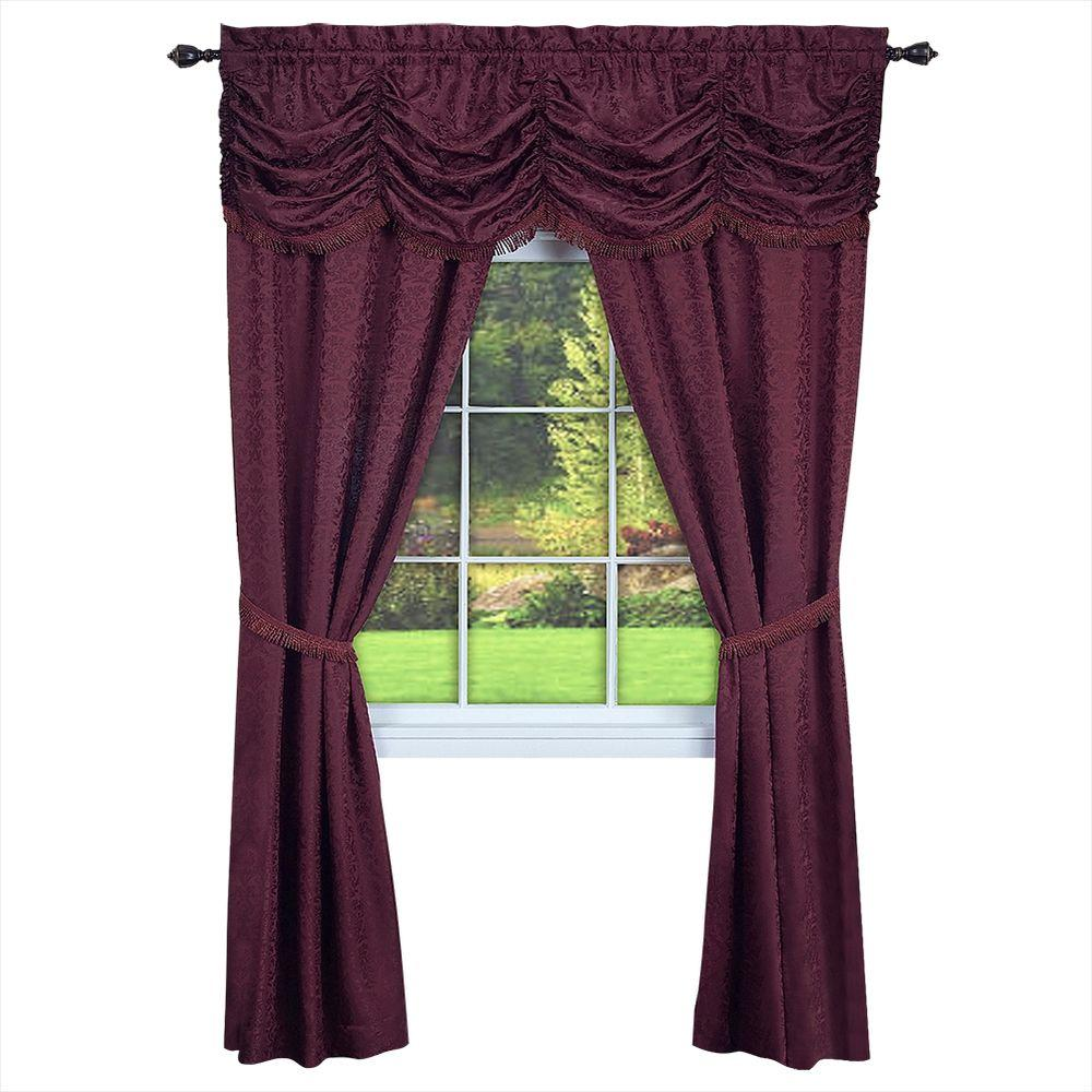 Achim Semi-Opaque Panache Burgundy Window in A Bag Curtain - 55 in. W x 63 in. L (5-Piece Set) (Price Varies by Size)