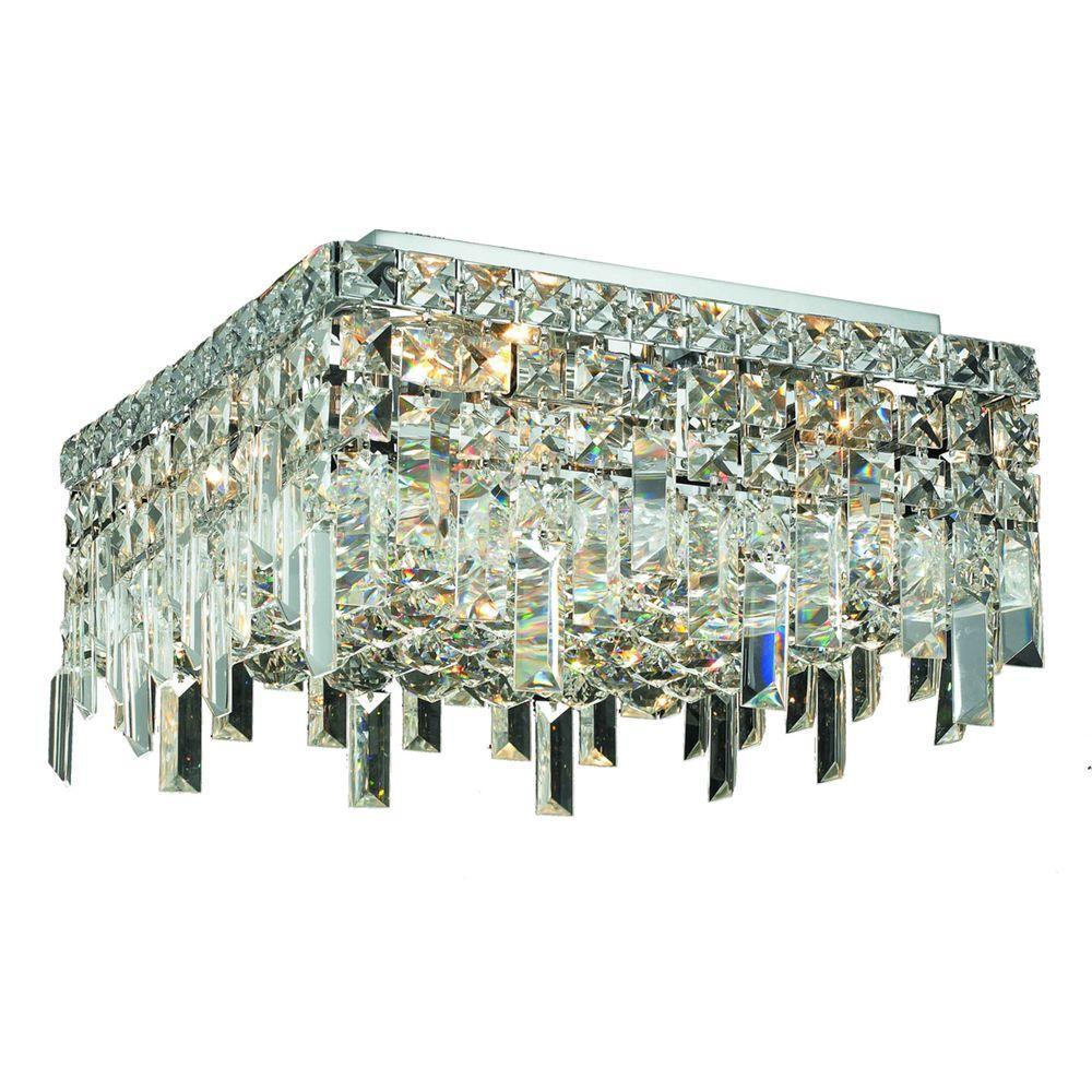 4-Light Chrome Flushmount with Clear Crystal