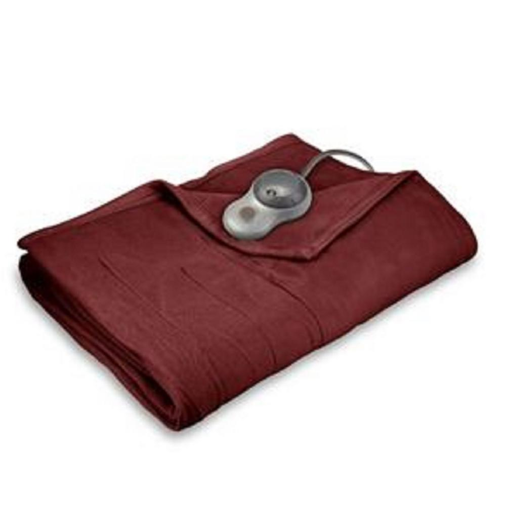 Sunbeam Twin Quilted Fleece Heated Blanket Garnet